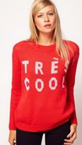 "ASOS ""Très Cool"" Red Knitted Sweater - Size SMALL"